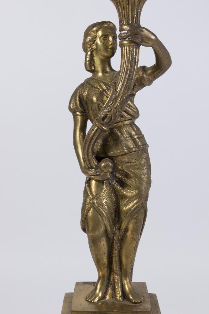 Bronze & Marble Figural 6-Light Candelabra - 2