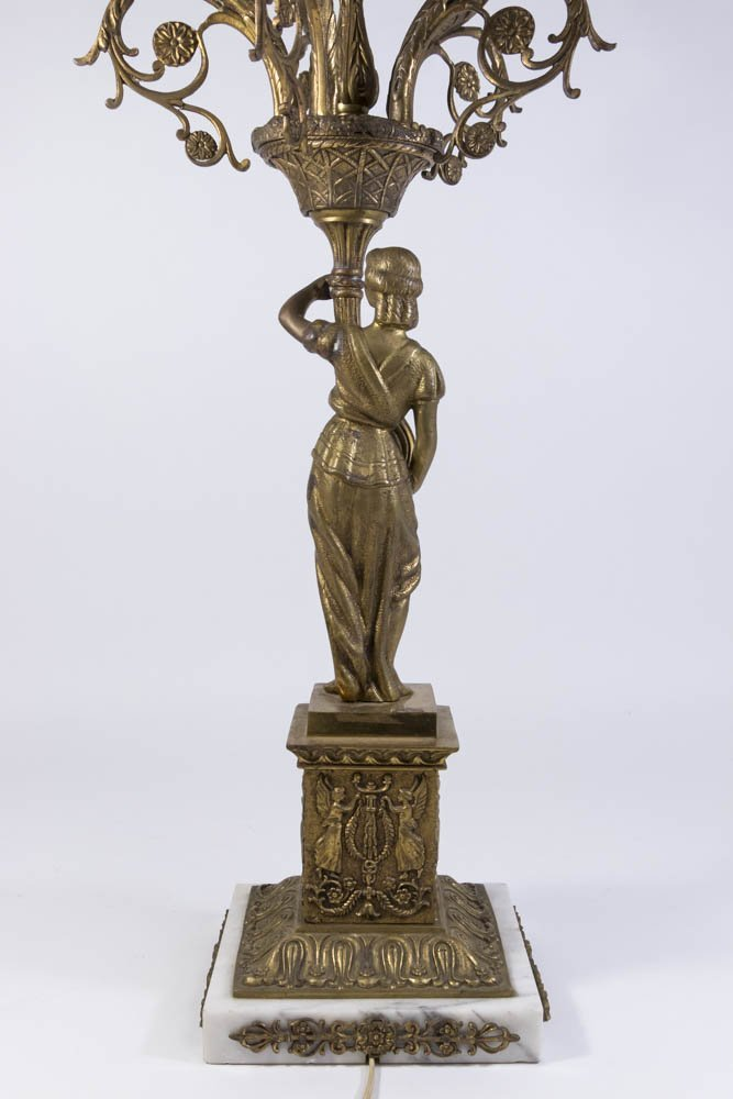 Bronze & Marble Figural 6-Light Candelabra - 6