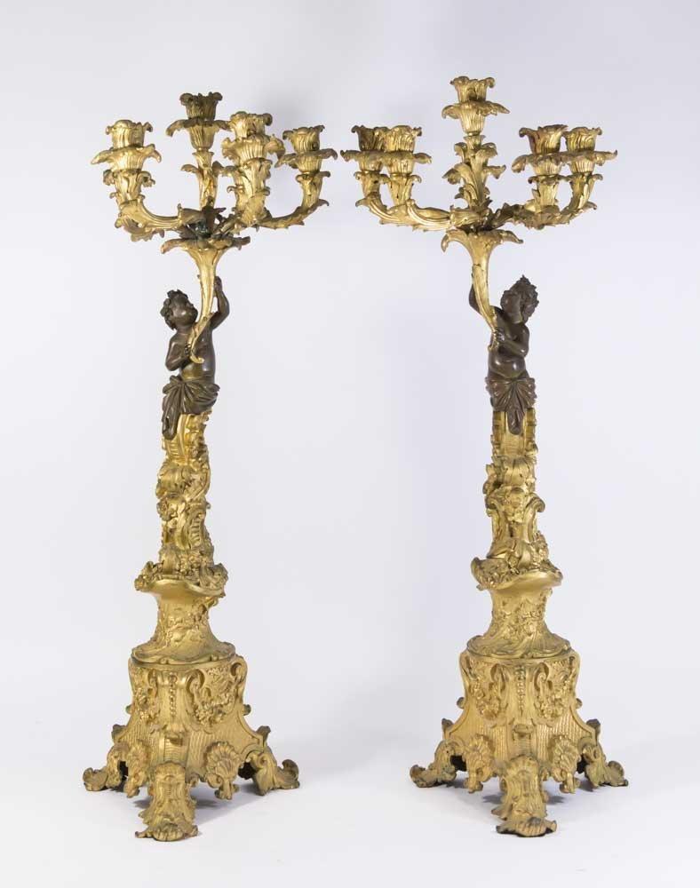 Pair 19th Century Bronze 6-Light Candelabra