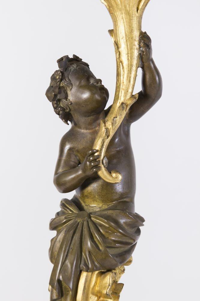 Pair 19th Century Bronze 6-Light Candelabra - 2