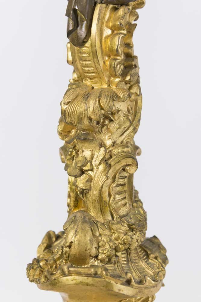 Pair 19th Century Bronze 6-Light Candelabra - 4