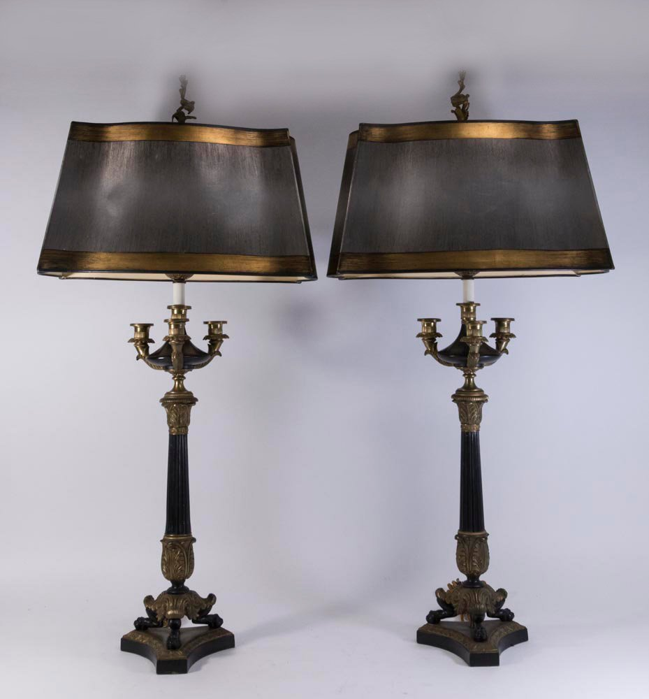Pair Brass & Metal 4-Light Candelabra