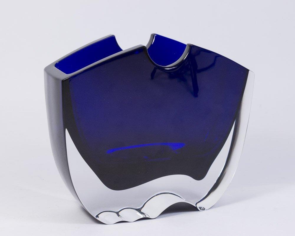 Signed Baccarat Cobalt Blue Vase