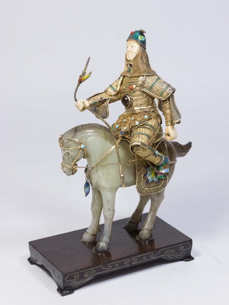 Jade, Gilt Silver, Bone, & Enamel Soldier on Horse
