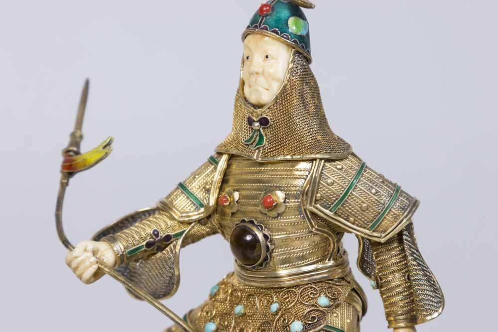 Jade, Gilt Silver, Bone, & Enamel Soldier on Horse - 2