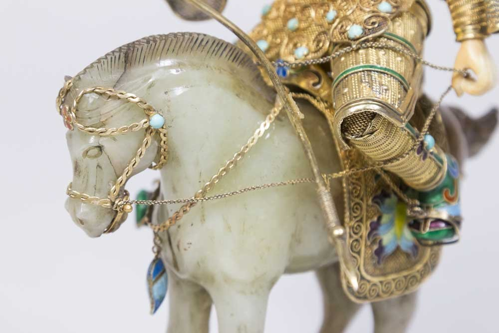 Jade, Gilt Silver, Bone, & Enamel Soldier on Horse - 3