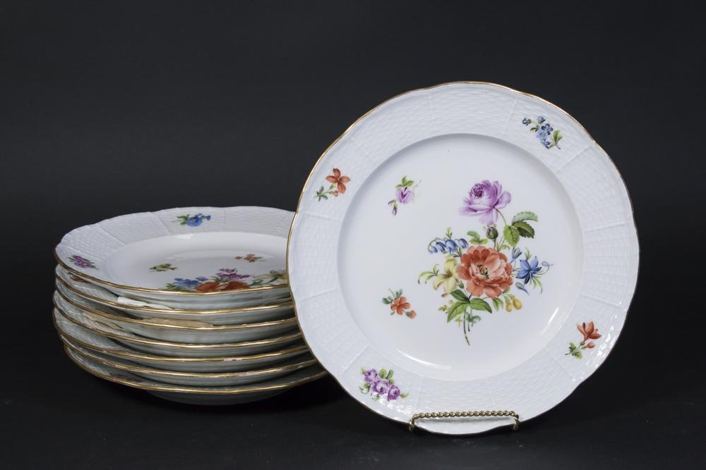 Set of 8 Meissen Floral Plates