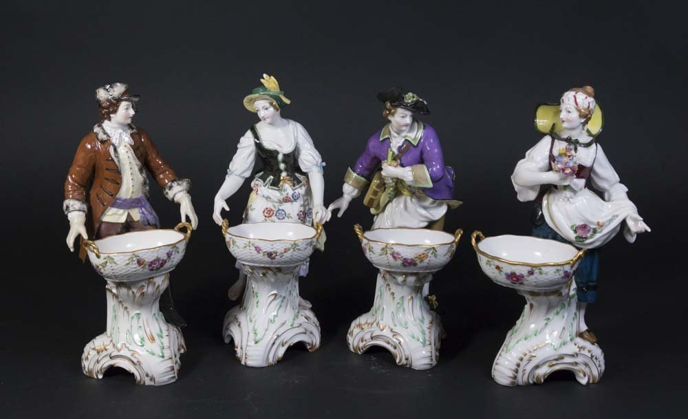 Set 4 Porcelain KPM Figural Master Salt Dishes