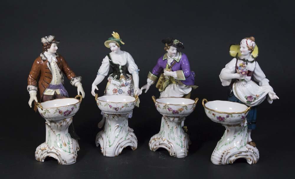 Set 4 Porcelain KPM Figural Master Salt Dishes