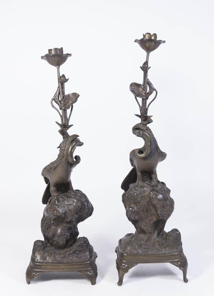 Pair Oriental Bronze Candlesticks with Birds