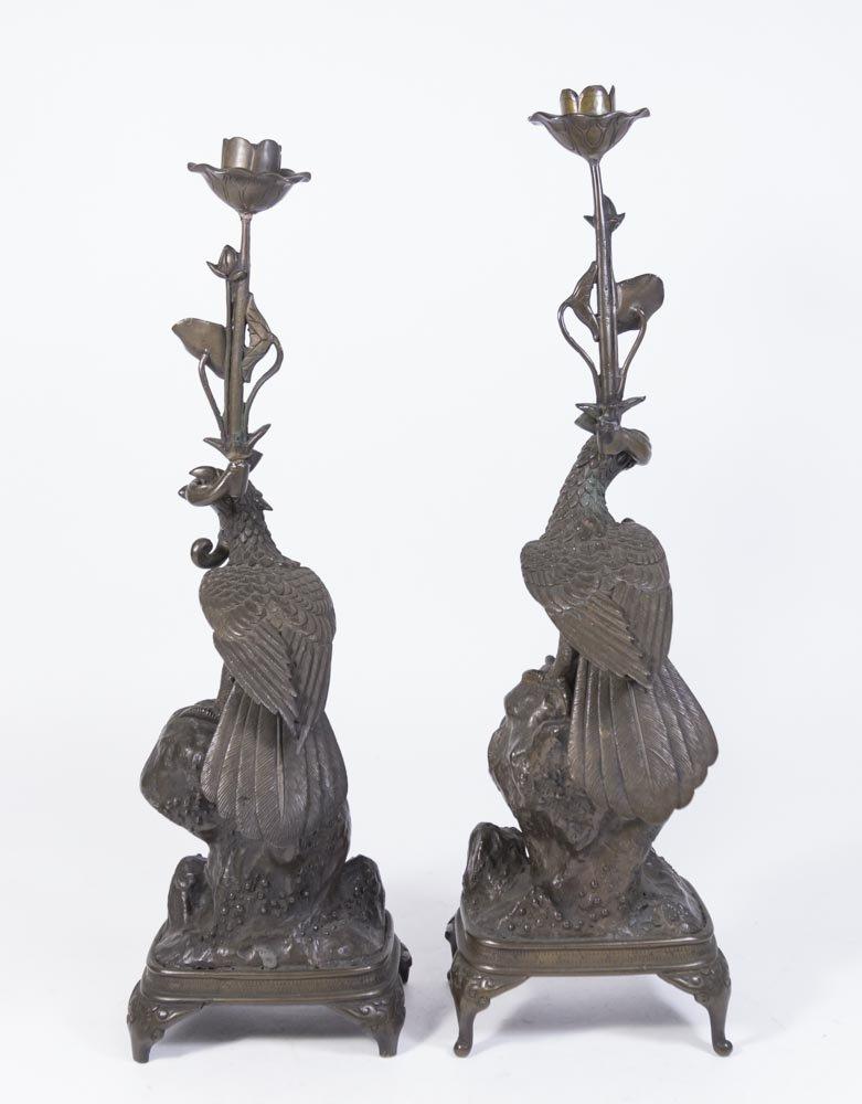 Pair Oriental Bronze Candlesticks with Birds - 5