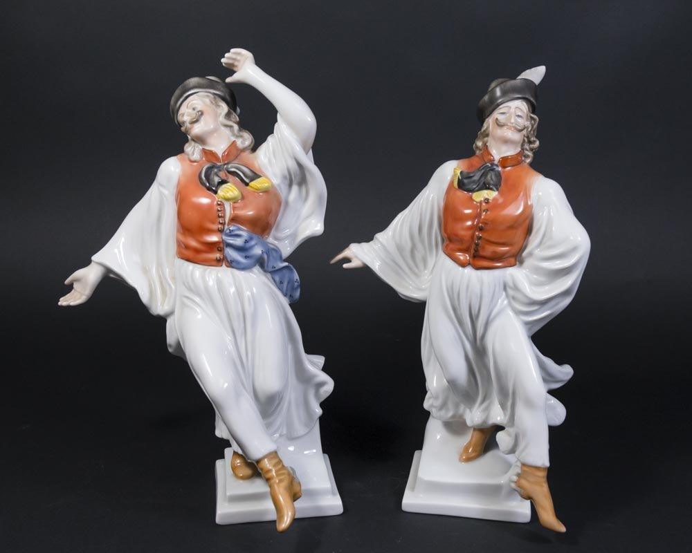 Pair Herend Porcelain Hungarian Dancer Figurines