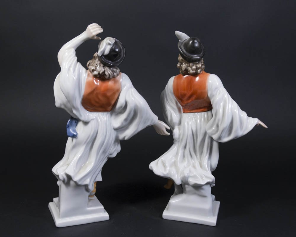 Pair Herend Porcelain Hungarian Dancer Figurines - 2