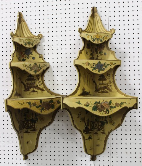 Pair Venetian Style Painted Corner Shelves