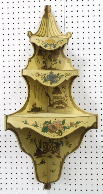 Pair Venetian Style Painted Corner Shelves - 2