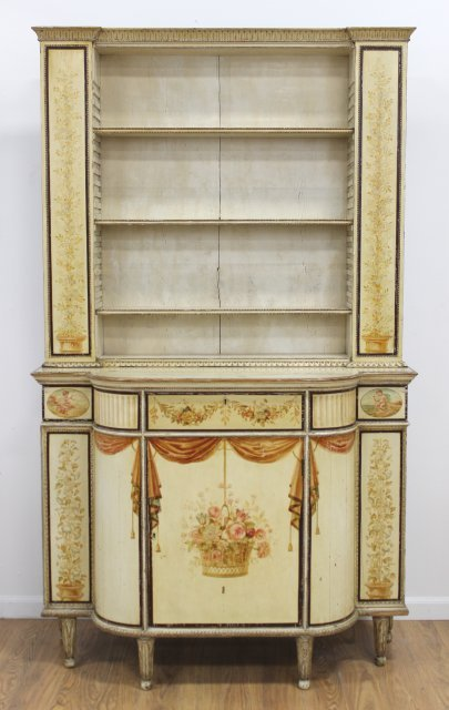 Swedish Neoclassic Painted Library Cabinet