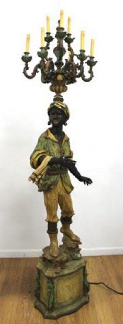 :Pair Polychromed Wood & Composition Blackamoors - 2