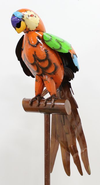 Perched Hand-Painted Metal Parrot on Stand - 2