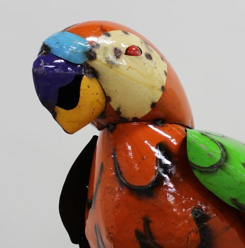Perched Hand-Painted Metal Parrot on Stand - 3