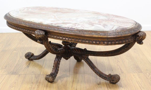 Carved Prince of Wales Style Coffee Table