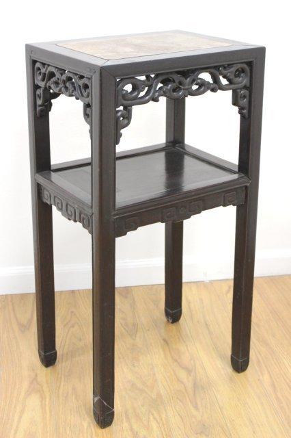 Chinese Teakwood Marble Top Pedestal