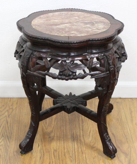 Chinese Teakwood Marble Insert Low Table