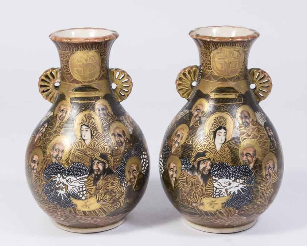 Pair Satsuma 1000 Faces Porcelain Vases