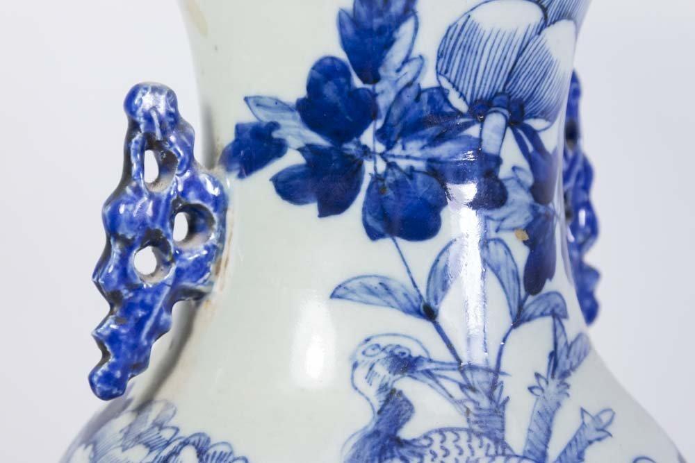 Asian Blue & White Porcelain Vase - 4