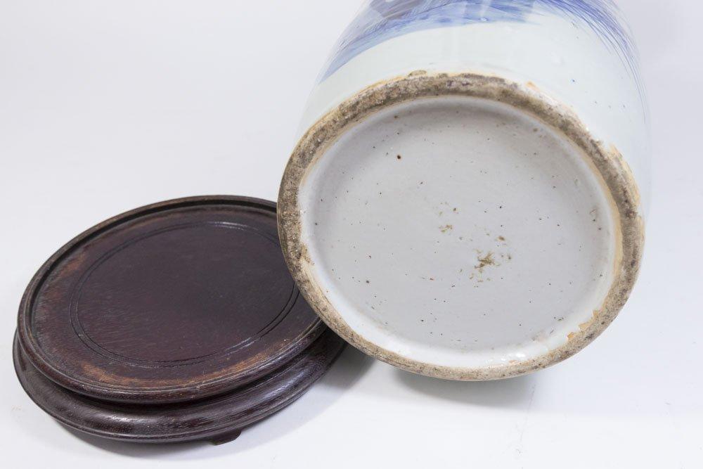 Asian Blue & White Porcelain Vase - 5