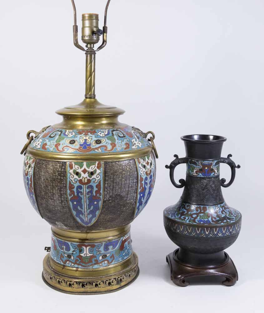 2 Chinese Cloisonné Vases