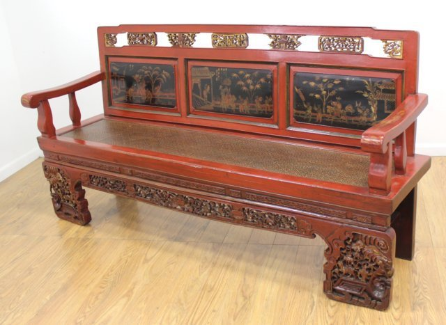 Chinese Lacquerware Bench with 3 Scenic Panels