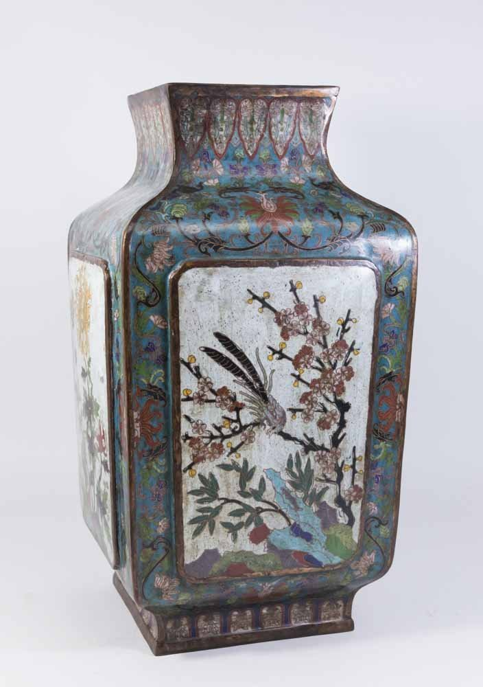 Asian 4-Panel 19th Century Cloisonné Vase