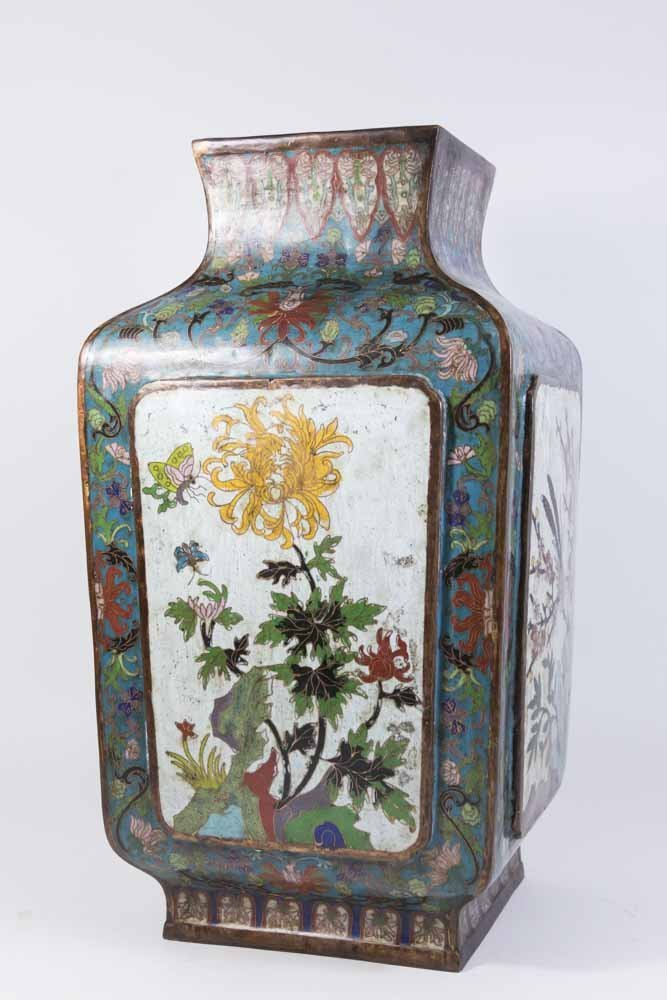 Asian 4-Panel 19th Century Cloisonné Vase - 5