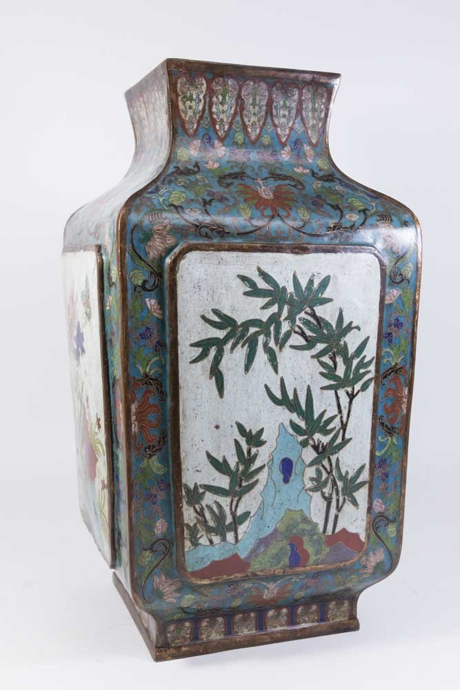 Asian 4-Panel 19th Century Cloisonné Vase - 6