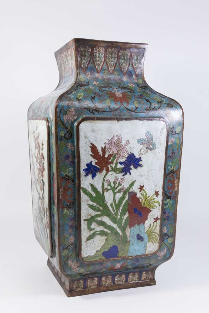 Asian 4-Panel 19th Century Cloisonné Vase - 7