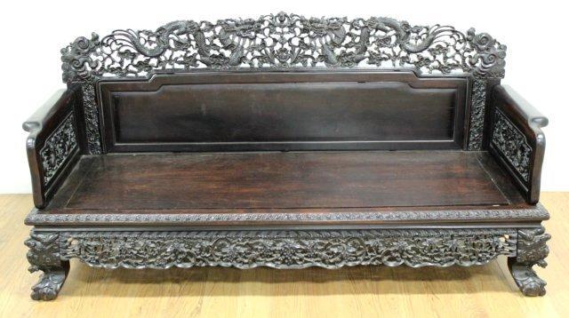 Chinese Hong-Mu Hardwood Carved Bench - 2