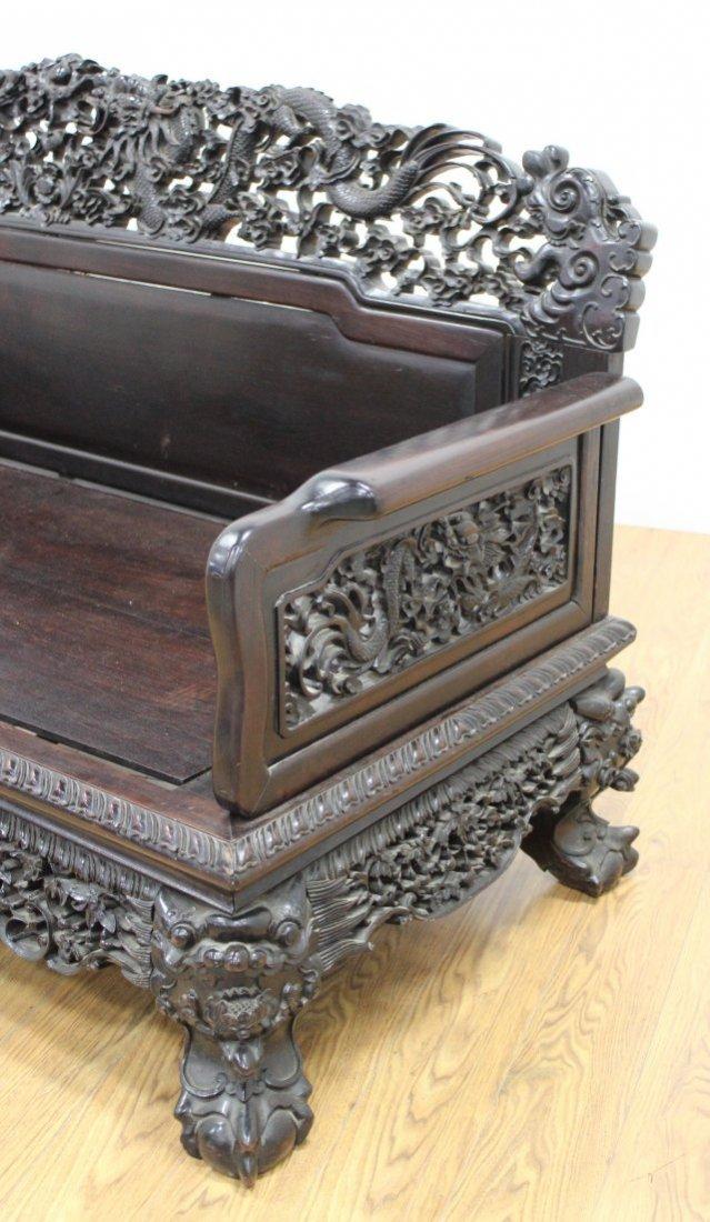 Chinese Hong-Mu Hardwood Carved Bench - 4
