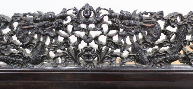 Chinese Hong-Mu Hardwood Carved Bench - 6