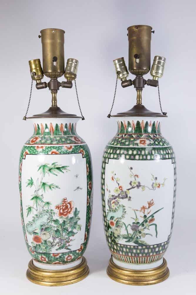Pair Chinese Porcelain 2-Panel Famille Rose Vases