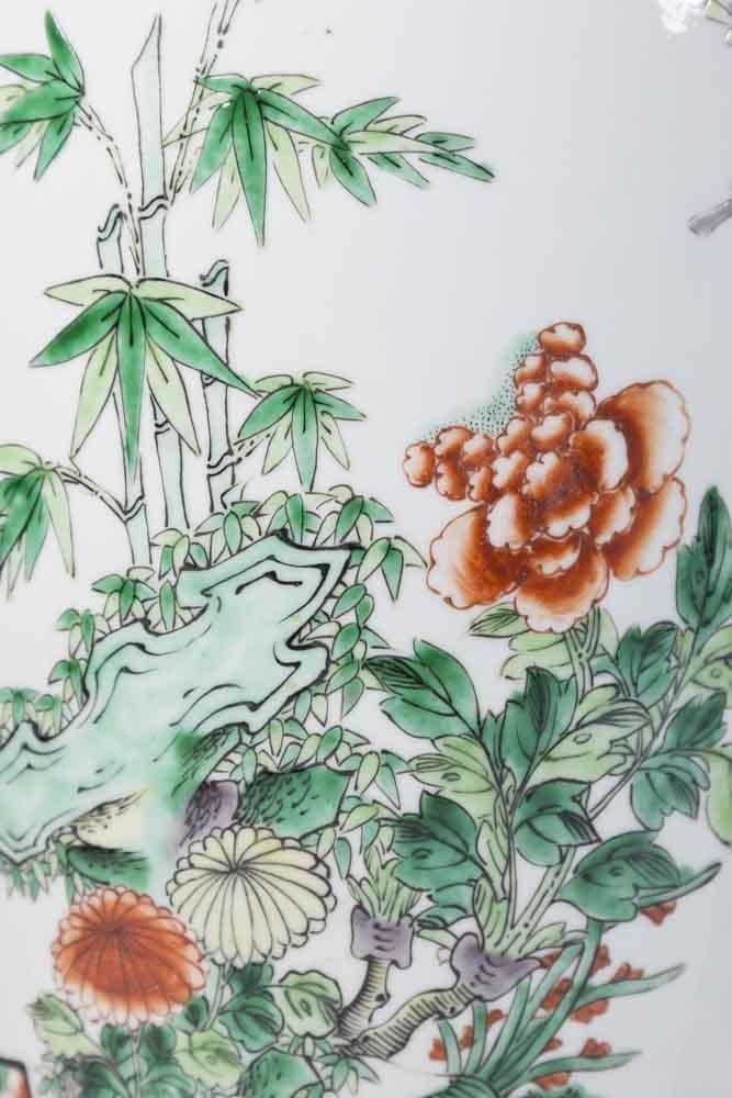 Pair Chinese Porcelain 2-Panel Famille Rose Vases - 2