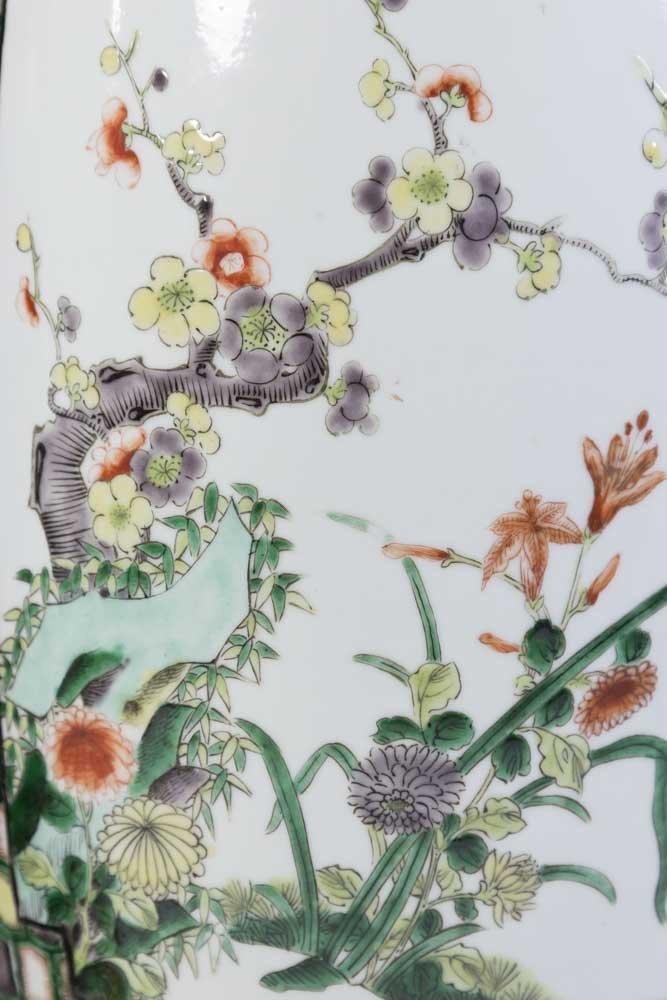 Pair Chinese Porcelain 2-Panel Famille Rose Vases - 3