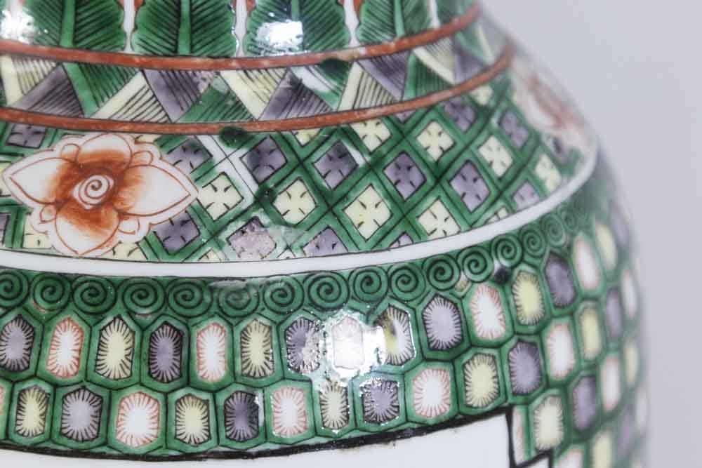Pair Chinese Porcelain 2-Panel Famille Rose Vases - 4