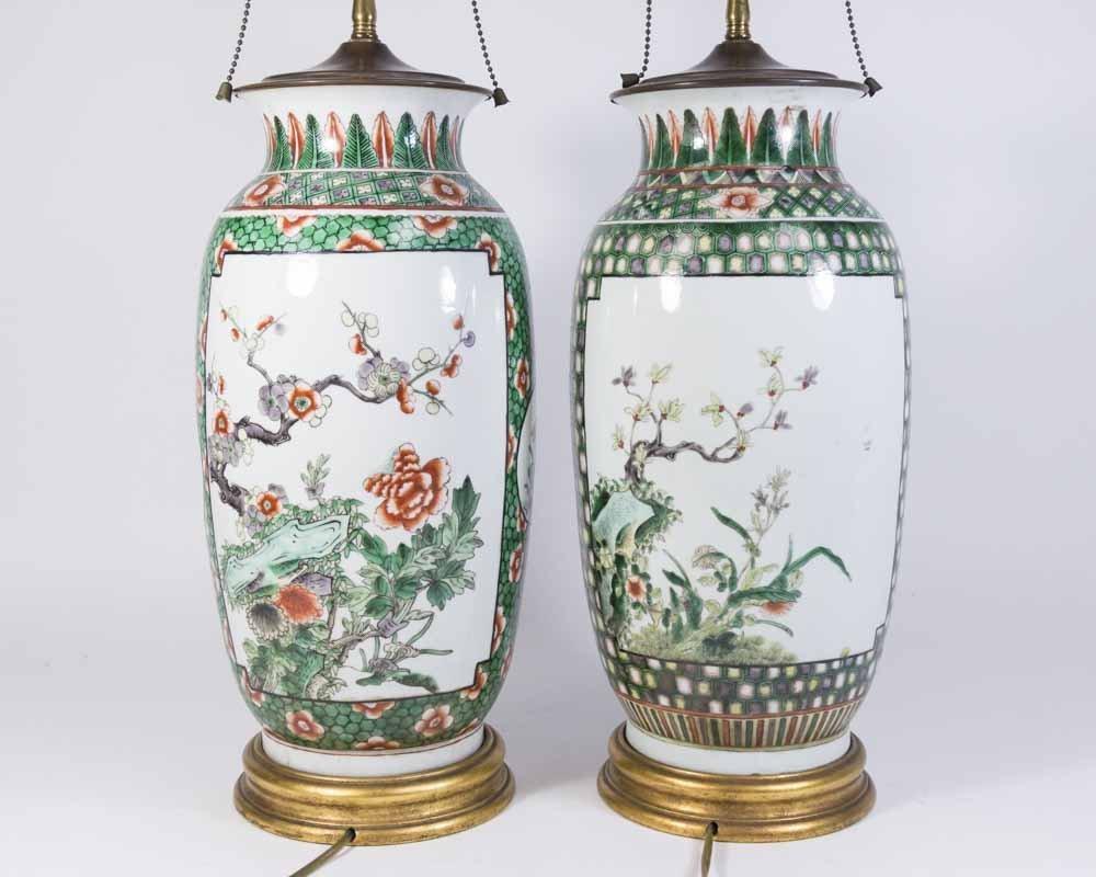 Pair Chinese Porcelain 2-Panel Famille Rose Vases - 6
