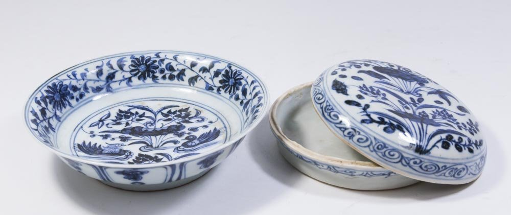 2 Blue & White Chinese Porcelain Pieces