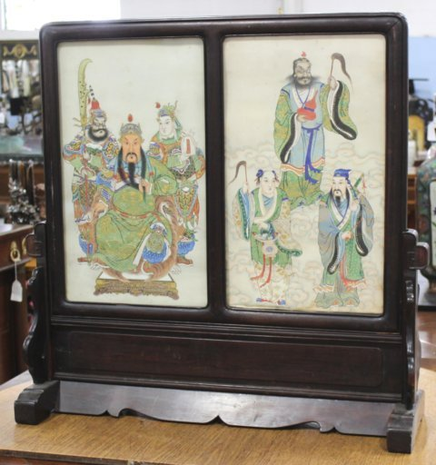 Chinese 2-Panel Watercolor Table Screen