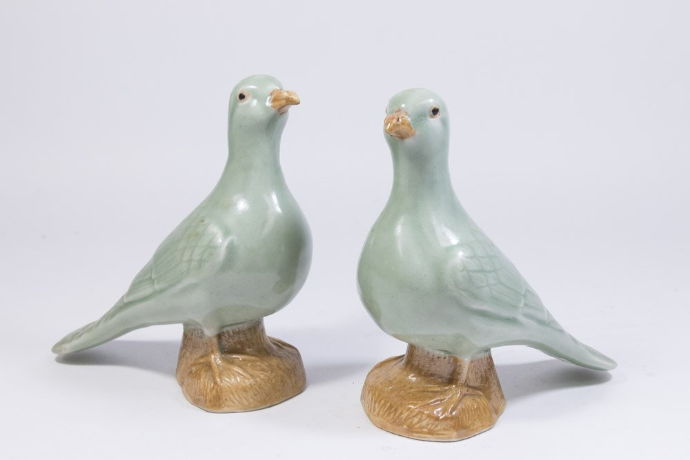 Pair Celadon Chinese Porcelain Ducks