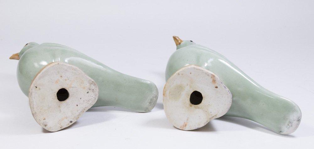 Pair Celadon Chinese Porcelain Ducks - 2