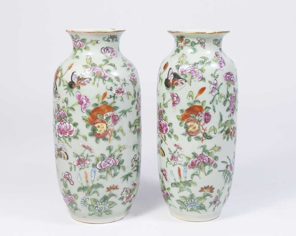 Pair Early Chinese Celadon Porcelain Vases