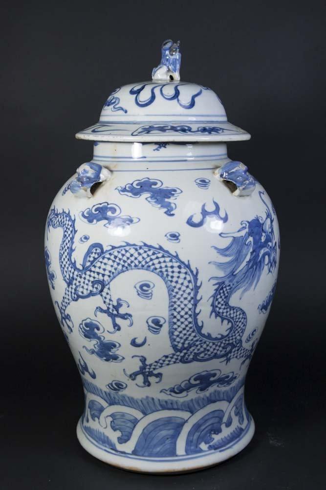 Blue & White Chinese Porcelain Covered Dragon Urn