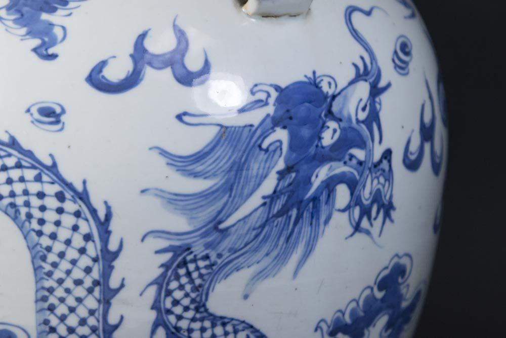 Blue & White Chinese Porcelain Covered Dragon Urn - 2